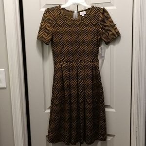 Brand New Black and Gold Lularoe Amelia Dress
